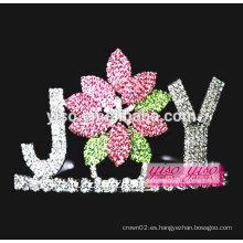 Joyería y accesorios de encargo coloreado flor concurso de cristal tiara