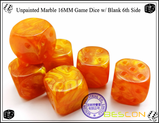 Un-painted Marble Dice 16MM with Blank 6th Side-4