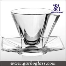 Ensemble de coupe et de soucoupes en verre de style nouveau (TZ-GB09D0906)