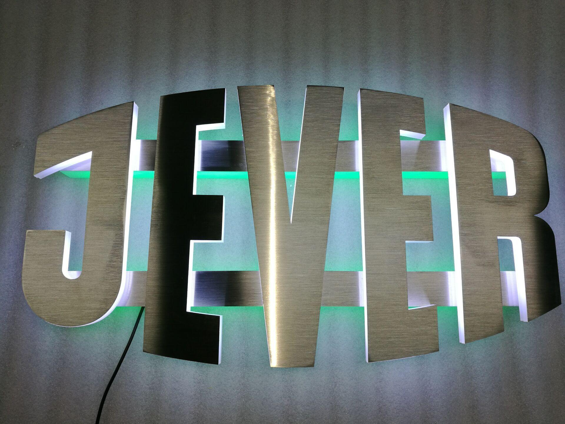 brushed metal light sign