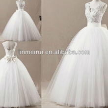 Real sample soft puffy v neck cap sleeve applique tulle floor length long wedding dress JWD071