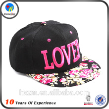 Floral Brim Embroidery Snapback Cap