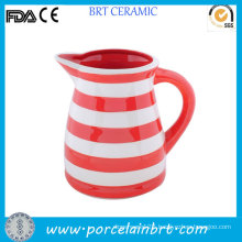 Red and White Striated Huge Ceramic Water Jug