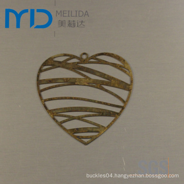 Elegant Heartshape Jewelry Findings with Brass Filigree Design for Sales