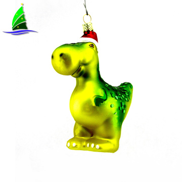Artdrgon 2020 Wholesale Christmas Tree Decoration Glass Green Hanging Dinosaur Ornament Custom