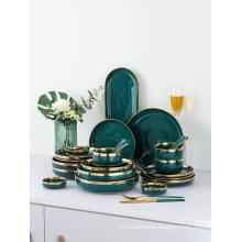 Green Porcelain Dinner Plates Dishes with Golden Rim Ceramic Cake Food Steak Plate Salad Soup Bowl Dinnerware Set for Restaurant