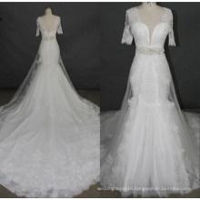 Newest Short Sleeve Lace Beading Mermaid Wedding Dress Bridal Gowns F5078