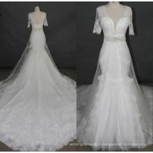 Новейший С Коротким Рукавом Кружева Бисером Русалка Свадебное Платье Свадебные Платья F5078