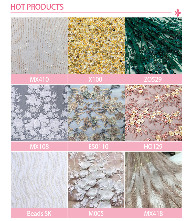 Beaded Sequins Embroidery Fabric