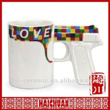 Keramikbecher Pistole geformt, Pistole Griff Kaffeetasse, Pistole geformt Tasse