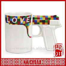 Ceramic mug gun shaped, gun handle coffee mug, gun shaped cup