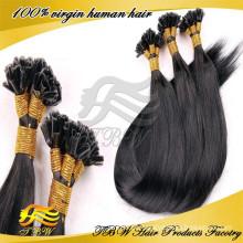 2015 atacado top quality 100% brasileiro remy extensão do cabelo humano u ponta cabelo