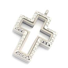 Горячие продажа нержавеющей стали серебряный магнитное стекло с плавающей подвески крест кулон медальон, плавающей медальон ожерелье шарма