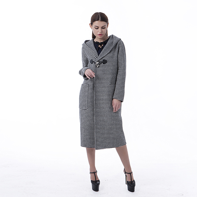Black and White Checked Cashmere Overcoat