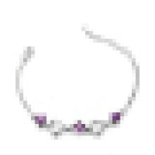 Bracelete de cristal roxo em forma de coração de alta qualidade moda 925 prata esterlina das mulheres