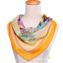 New Fashion floral print polyester square silk chiffon scarf