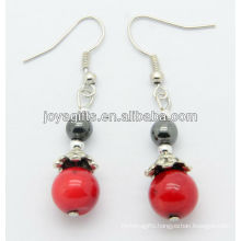 Wholesale red coral with hematite round beads earring