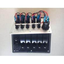 5 Gang Aluminum LED Waterproof Rocker Switch Pane+Voltmeter