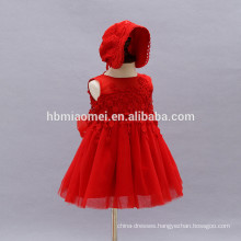 2017 New style summer baby dress western birthday baptism dress infant girl dress with hat