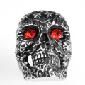 Engraved Pattern Vintage Mens Antique Skull Ring
