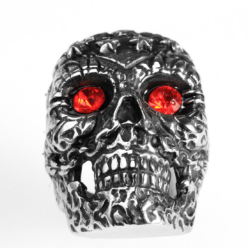 Terukir Pola Vintage Mens Antique Skull Ring