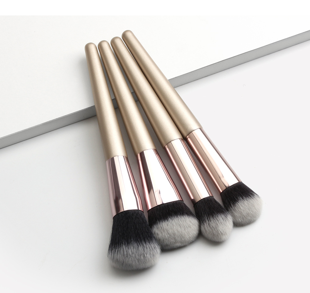 4 Piece Champagne Gold Makeup Brushes set black