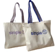 Wholesale Portable Canvas cotton Grocery Bag Reusable Foldable Shopping Tote Bag with Custom Embroidery Logo
