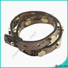 Stud Fashion Girl Bracelet en cuir marron (LB)