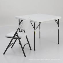 Tabela de alumínio ao ar livre mesa e cadeira portátil de plástico