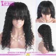 Venda quente 180% densidade cor #1 virgem brasileira kinky curly peruca do cabelo humano para mulher negra