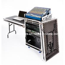 16u Workstation Flight Case Rack with Side Tables and 10u Mixer Slant