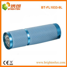 Factory Sale Colorful Night Usé 9 led Aluminium Cheap LED lampe de poche avec croissance Lighting Silicon Rubber Grip