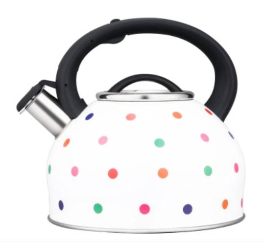 Polka dot painted stainless steel kettle with lid