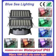 Super 96pcs 18w IP65 6 в 1 rgbwauv dmx водонепроницаемый ip65 светодиодный настенный светильник
