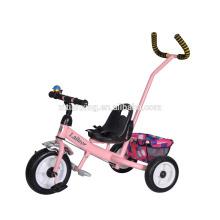 Le fabricant de la Chine encourage la poussette de bébé à prix bon marché / tricycle à trois roues avec la poignée de guidage / le tricycle à poussette bébé