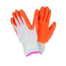 13G Nylon / Polyster Liner Handschuh mit Latex beschichtet, Falten fertig
