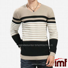 Sunshine Mens Knitted Striped Match Color Pullover Sweater