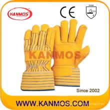 Желтая натуральная кожаная перчатка для промышленной безопасности (12007)