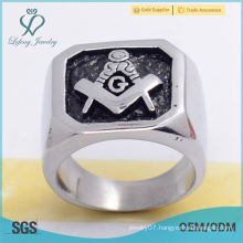 Hot sale 316l stainless steel silver smooth enamel black mesonic rings for men jewelry