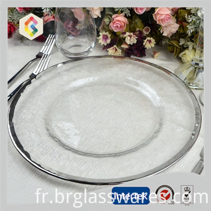 Gold And Silver RIm Wedding Crystal Glass Charger Plate