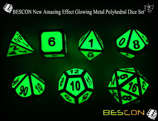 BESCON New Amazing Effect Glowing in the Dark Metal Polyhedral Role Playing RPG Game Dice Set of 7-6