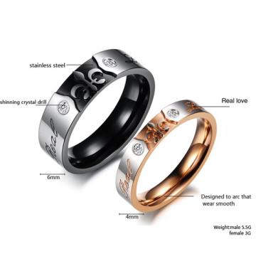 Brillante titanio Punk acero anillo de bodas anillo moda Cubic Zirconia anillo de pareja diamante