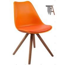 Orange Color with Wood Legs Bar Chairs