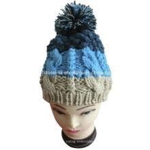Мода качества кабеля руки вязать женщин Большие шляпы Pompom