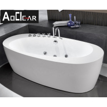 Aokeliya hotel oval acrylic freestanding whirlpool bathtub with jets and bath tub solid surface