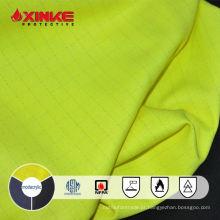 Anti estática alta fluorescente amarela fluorescente / algodão chama anti-prova de tecido estático