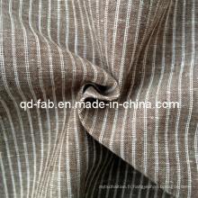 Tissu en tricot à rayures teintés en coton et en lin (QF13-0764)