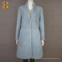 Pale Blue Winter Womens Schaffell Scheren Schaf Pelz Mantel