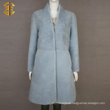 Pale Blue Winter Womens Sheepskin Shearing Sheep Fur Coat