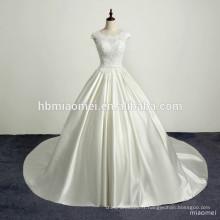 Romantique dentelle satin train vintage robe de mariée sexy dos nu appliques paillettes robe de mariée robe de dentelle